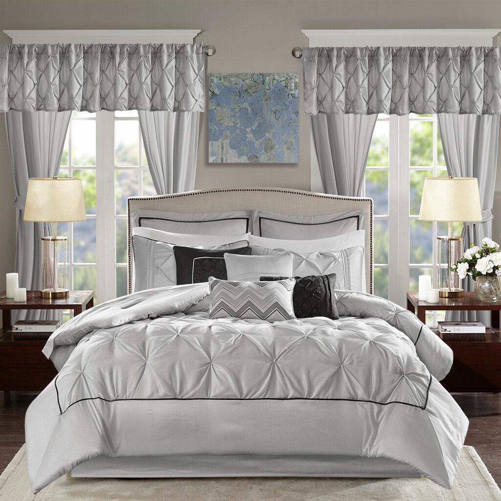 Elegant grau Faux Silk Tufted Comforter Window Curtains 24 pcs Cal King Queen