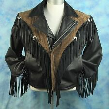 True Vintage 80s Mens L Leather Jacket Western Fringed Metal Rock Star Insulated
