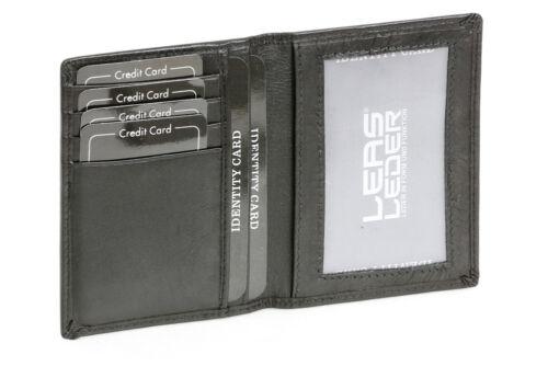 Tessera e carte di credito Guscio//cartella//LIBRETTO LEAS in vera pelle- formato verticale Nero