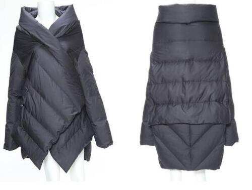 Women Fashion Irregular Puffy Cloak Down Jacket Winter Warm Parka Coat Zsell