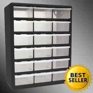 Image is loading 18-Drawer-Clear-Plastic-Storage-Bins-Bedroom-Parts- & 18 Drawer Clear Plastic Storage Bins Bedroom Parts Organizer Boxes ...