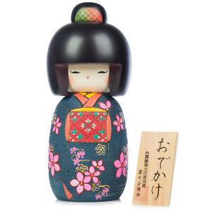 Large Premium Navy Floral Japanese Kokeshi Doll