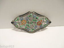 Pin Enamel Flowers Foliage Sterling Silver Multi-color Floral Brooch 2 3/4 inch