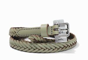J-Crew-Factory-Women-039-s-M-L-NWT-Grayish-Green-Braided-Leather-Skinny-Belt