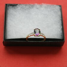 BEAUTIFUL 9CT YELLOW GOLD OVAL MYSTIC TOPAZ & DIAMOND RING 1.3 GR.SIZE  N12