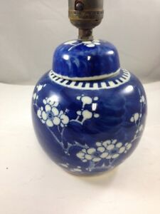 Details About Wired Chinese Plum Flower Blue White Ginger Jar Light Lamp Double Ring