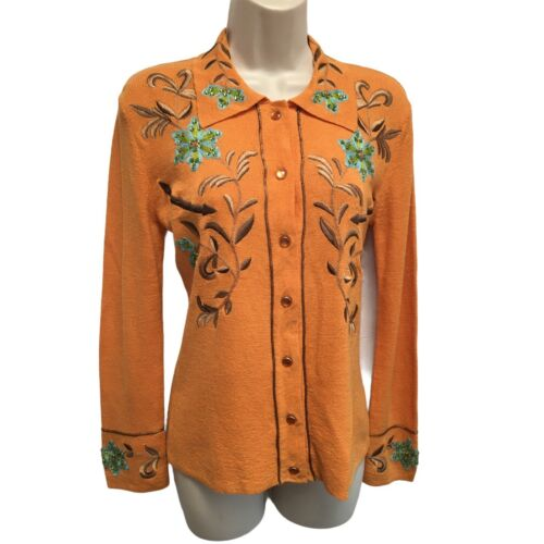 Double D Ranch Orange Linen Knit Embroidered Bling