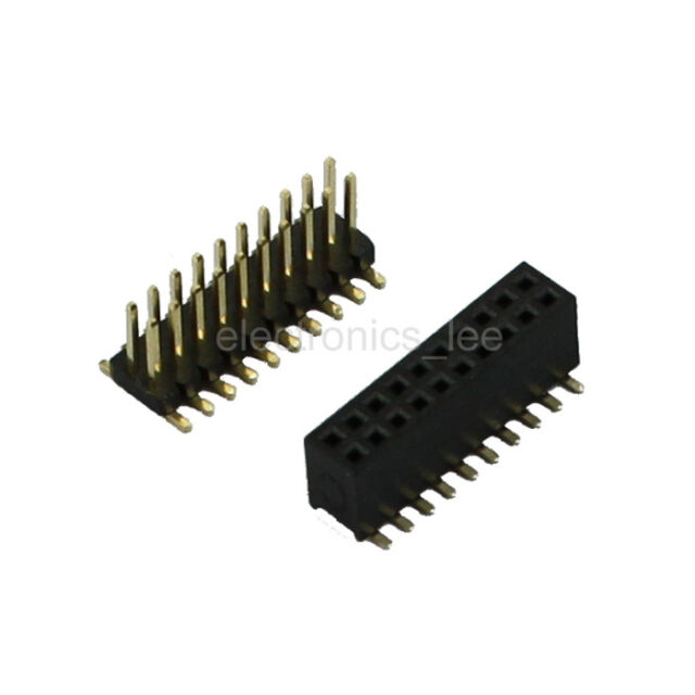 5 sets Double Row Female Socket SMD 2*10 20pin 1.27mm Pin Header connector