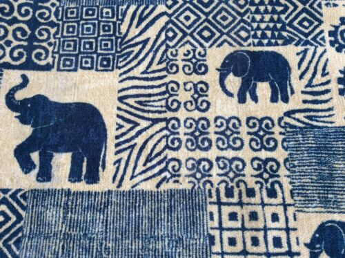 Per Meter Upholstery Fabric Elephants Design FR Treated Heavy Weight