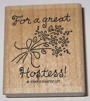 For A Great Hostess Rubber Stamp Stampin' Up Flowers Home Parties Sales