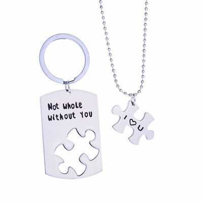 Stainless Steel Not Whole Without You Necklace Key Chain Set Couples Puzzle Love