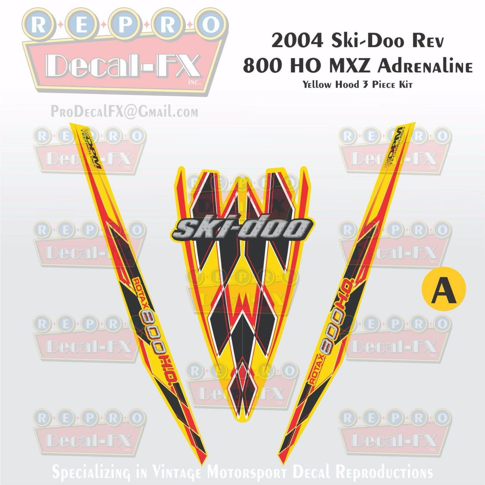 2004 Ski-doo Rev MXZ 800HO Yellow Hood Panel Reproduction Vinyl Decal Set 3Pc