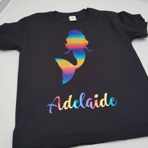 XXL Adult Rainbow Personalised Mermaid Tshirt 1-13yrs and S