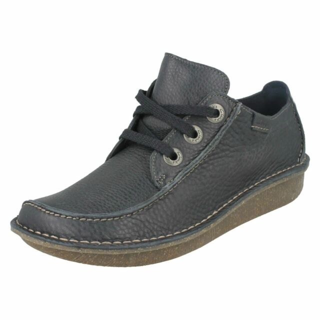 Ladies Clarks Funny Dream Casual Lace up Shoes D Fitting UK 5.5 Navy Leather