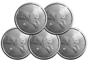 Lot of 5 - 2017 $5 1oz Canadian Silver Lynx Coin .9999 Fine BU