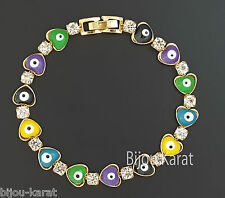 Nazar Boncuk Evil Eye Gold Armband 18 Karat vergoldet Böses Auge Blick Herz