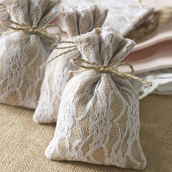 Wedding Natural Hessian Lace Burlap Rustic Gift Candy Bag Storage Bags 10*15cm