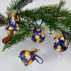 Navy Christmas Ornaments.Details About Christmas Ornaments Angels Playing Harp 4 Paper Mache Navy Blue