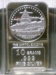 USA-10-gram-999-Fine-Silver-Commem-Bullion-039-the-Capitol-039-Sealed-amp-UNC