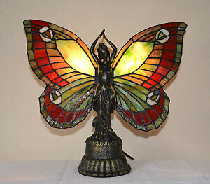 Stained Glass Tiffany Style Butterfly Deco Girl Night Light Table Desk Lamp