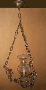 Decorative Arts Antico Lampadario Bronzo Legno Ampolla Cristallo X Ingresso Studio Stile Classic Drip-Dry