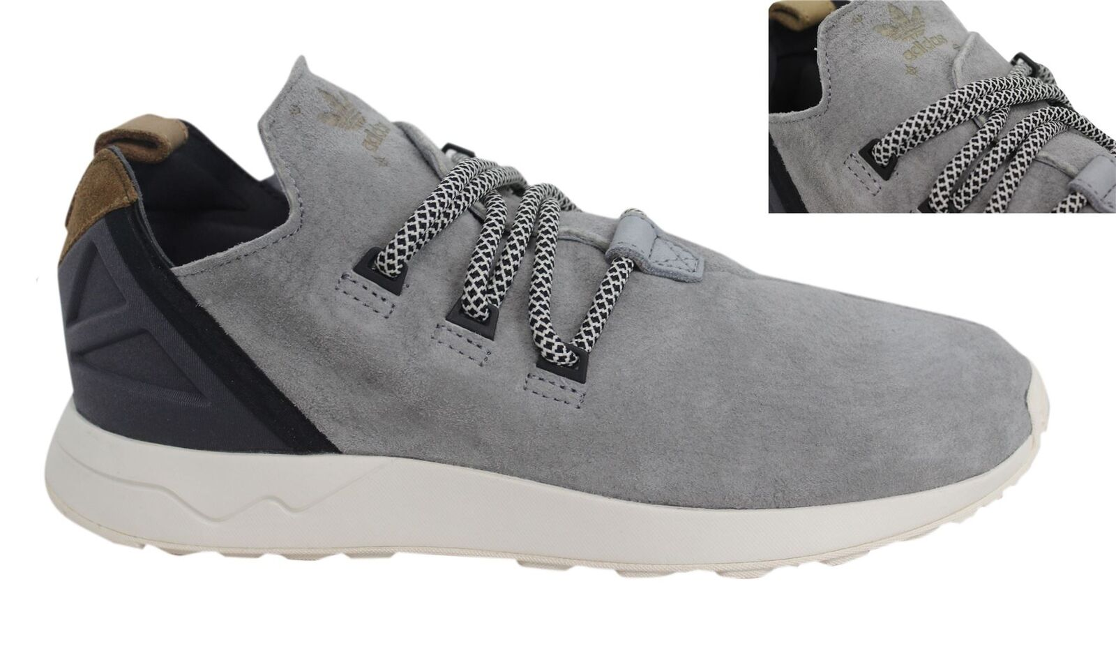 Adidas Originals ZX Flux Adv X Lace Up Grey Leather Mens Trainers S76364 D44
