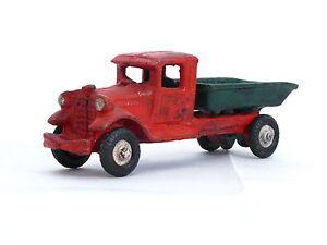 Vieux camion à benne basculante en fonte Hubley rouge vert Camion Cava Ghisa 13 cm Rosso Verde