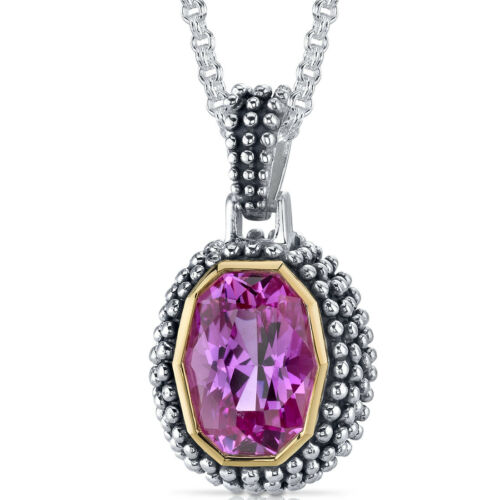 7.75 CT Pink Sapphire Sterling Silver Pendant