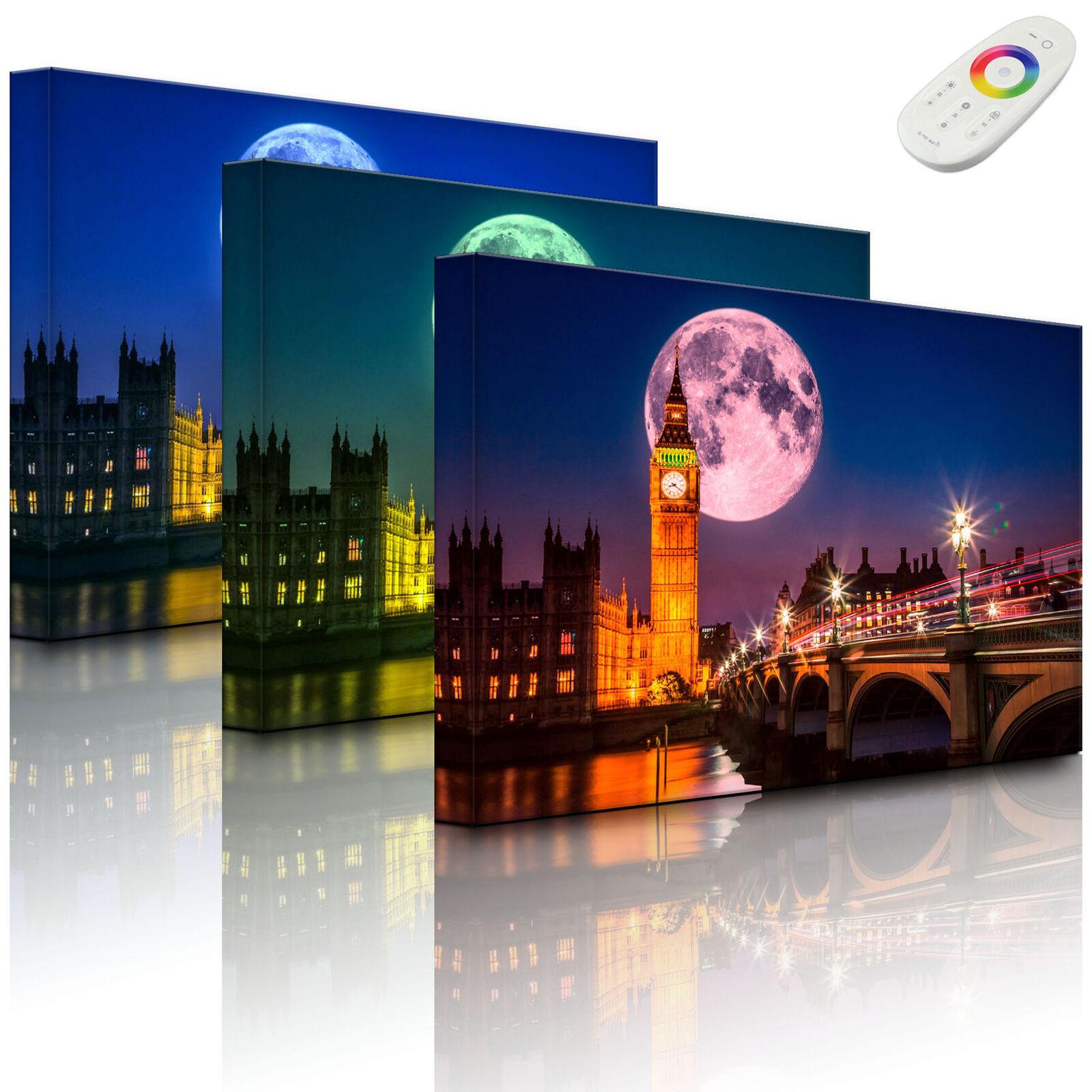 Leuchtbild LED Bild - Big Ben vor großen Mond in London - fully lighted