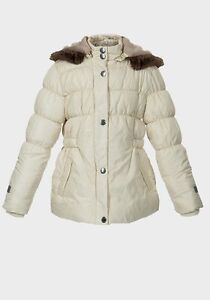 6b757cdfcde5 NEW Girls Cream Parka Padded Jacket Fur Coat School Age 2 3 4 5 6 7 ...