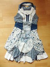 Luxus BIBA Designer Crash Stufen Kleid Gr. 36-38 weiß blau