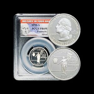 """1999 S """"Silver"""" Proof New Jersey State Quarter PCGS PR 69 DCAM Flag Series"""