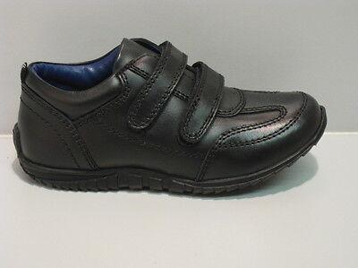 Zapatos de Cuero nuevos Chicos Negro Deportivo doble tira Size UK 12