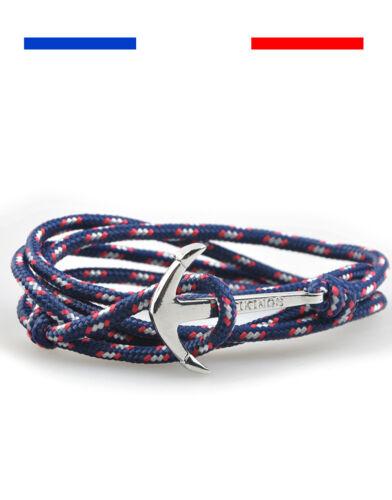 Bracelet Ancre Marine viking spartiate corde Bleu Noir Rouge argent homme femme