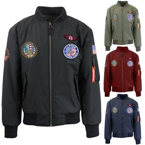 454d72fce Details about Mens Flight Bomber Jackets MA-1 Waterproof Durable Patches S  M L XL 2XL NWT