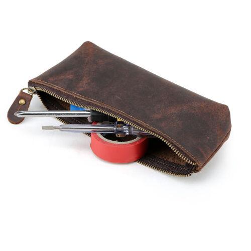 Handmade Vintage Leather Zipper Pen Pencil Pouch Wallet Glasses Toolkit Case