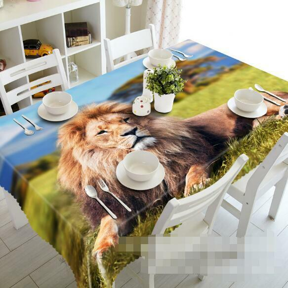 3D Lion lawn 3 Tablecloth Table Cover Cloth Birthday Party Event AJ WALLPAPER AU