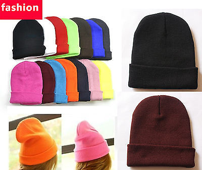 Wholesale Harajuku Unisex Solid Color Beanie Warm Ski Cap Winter Knitting Hat D