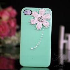 Apple iPhone 4 4S Hard Case Cover Hülle Etui Perlen Steine 3D Blume Minz Grün