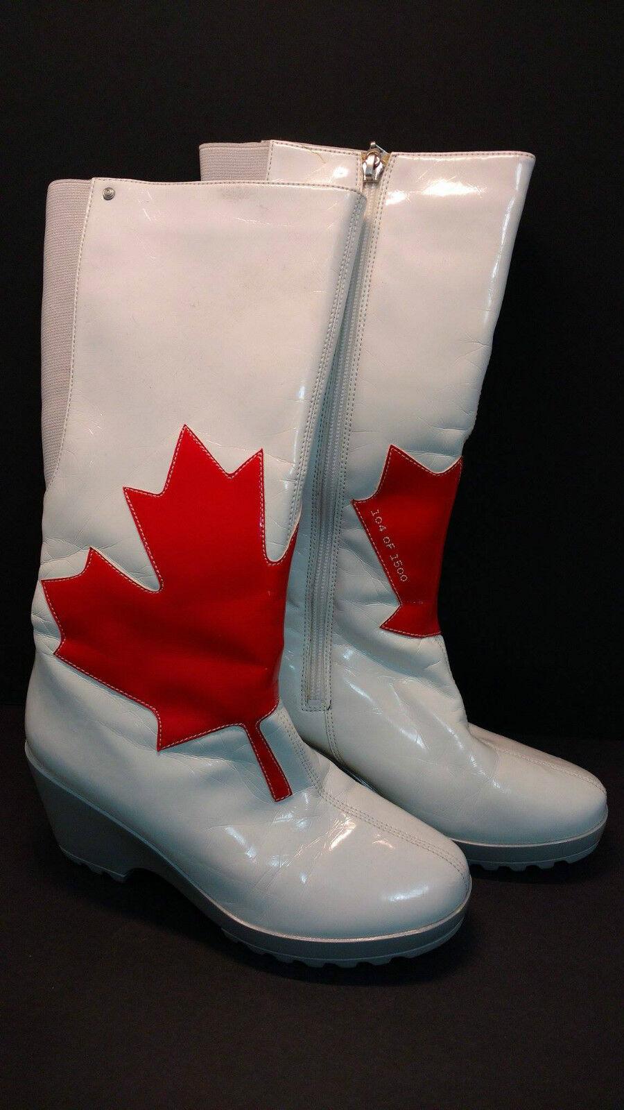 ROCKPORT LIMITED EDITION 'LORRAINE' Weiß Patent Rain Stiefel Größe 6M