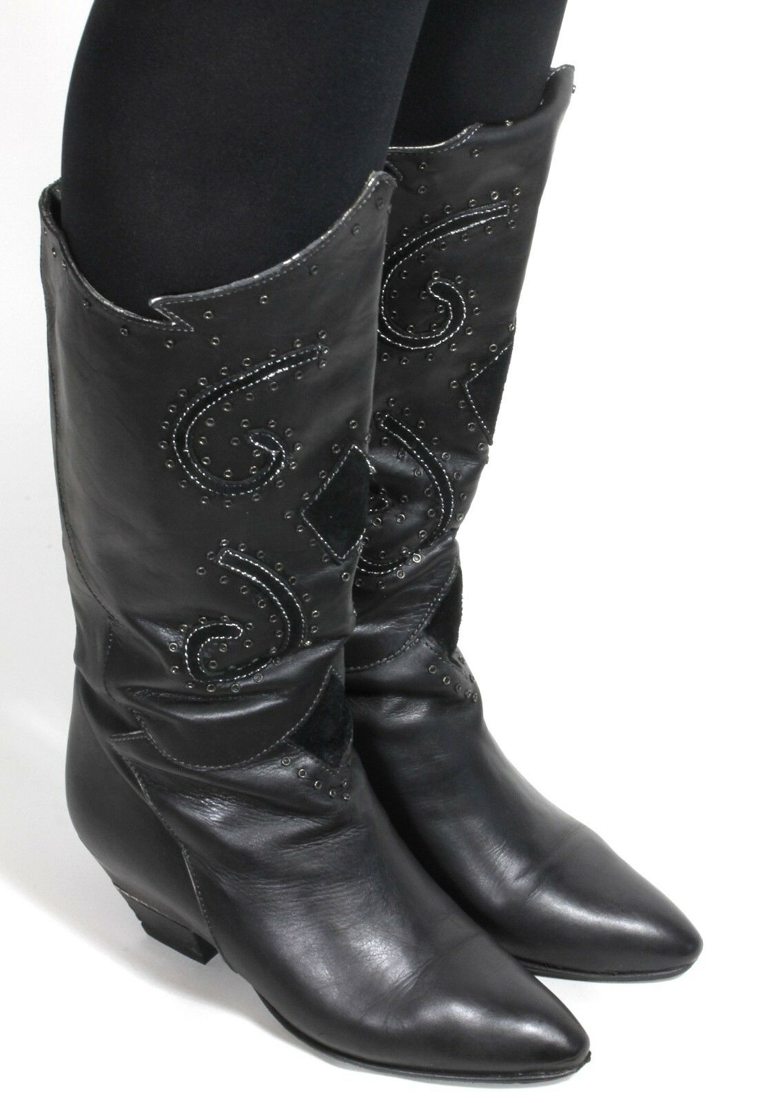 Leder Vintage Stiefel Damenstiefel Hipster Elegant Boho Ethno Silber Metallic 37