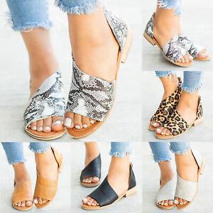 Women-039-s-Peep-Toe-Slip-On-Sandals-Summer-Low-Heel-Flip-Flops-Flats-Loafers-Shoes