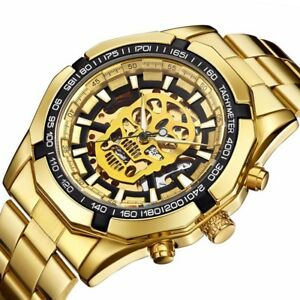 New-Fashion-Automatic-Mechanical-Watches-Men-039-s-Skull-Design-Gold-Stainless-Steel