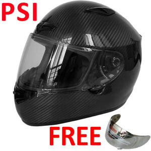 eb170cca Details about LEO958 PSI Carbon Full Face Motorcycle Motorbike Helmet +  Extra Mirrored Visor