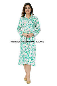 Women-039-s-Floral-Printed-Cotton-Dress-Button-Pocket-Long-Sleeve-Casual-Tops-Shirt