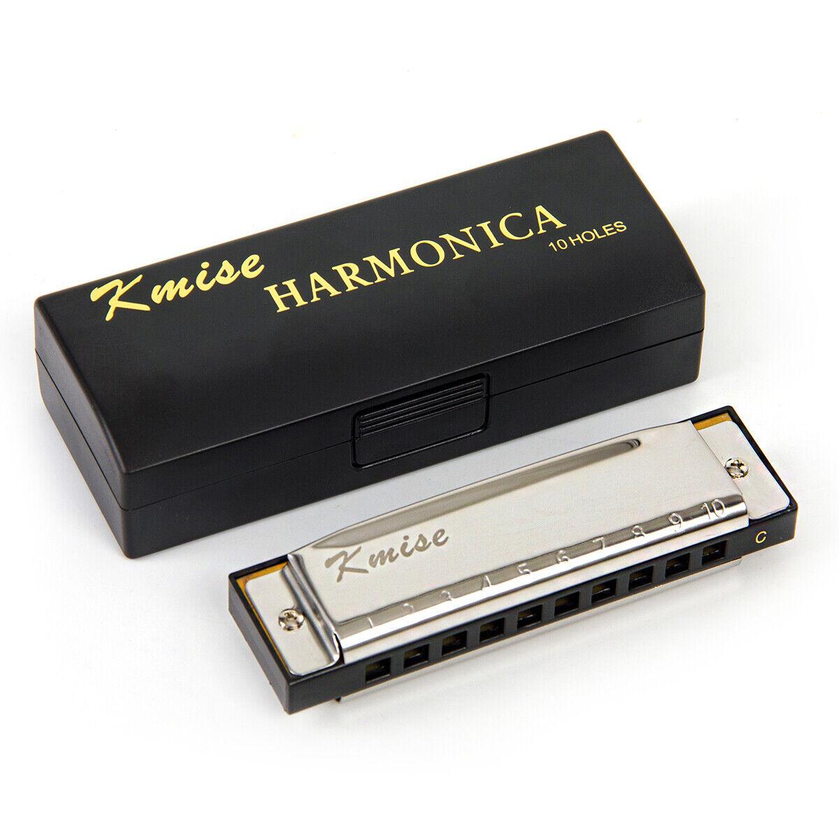 10 Holes Key-C Phosphor Bronze Reeds Blues Harp Mouth Harmonica Diatonic X5W1