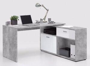 Schreibtisch Computertisch Eckschreibtisch Winkeltisch Beton Weiss