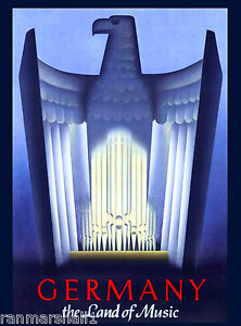 The Land of Music Germany German European Vintage Travel Advertisement Poster