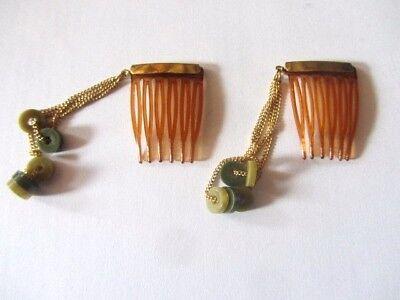 Lage Prijs Ancienne Vintage Paire Barettes Cheveux Pour Poupee, Pastilles 2 Tons Vert
