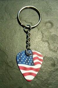 American Flag Usa Guitar Pick Key Chain Collectible Memorabilia Cadeau-afficher Le Titre D'origine